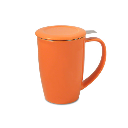 Curve Teaware Tall Tea Mug, Lid, and Infuser - Carrot