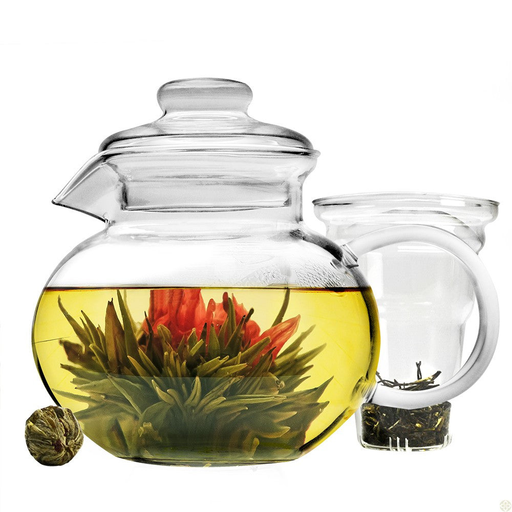 Handblown Glass Teapot for Blooming Teas - Teaware - Red Stick Spice Company