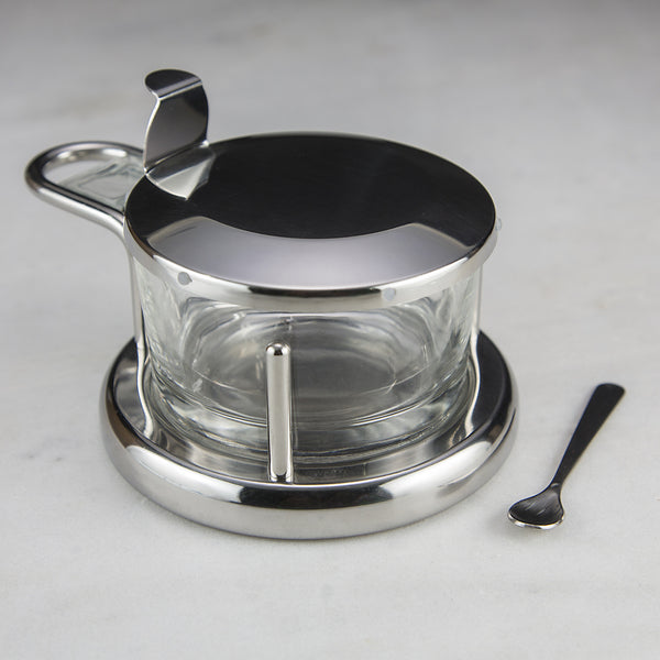 Stainless Steel And Glass Salt Cellar Red Stick Spice