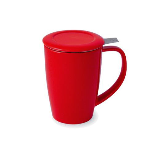 Curve Teaware Tall Tea Mug, Lid, and Infuser - Red