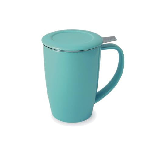 Curve Teaware Tall Tea Mug, Lid, and Infuser - Turquoise
