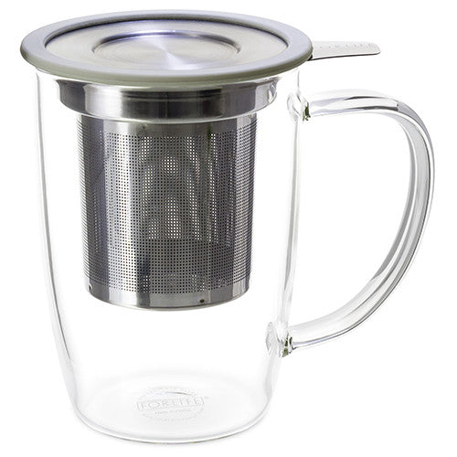 NewLeaf Glass Tall Tea Mug with Infuser & Lid - Teaware - Red Stick Spice Company