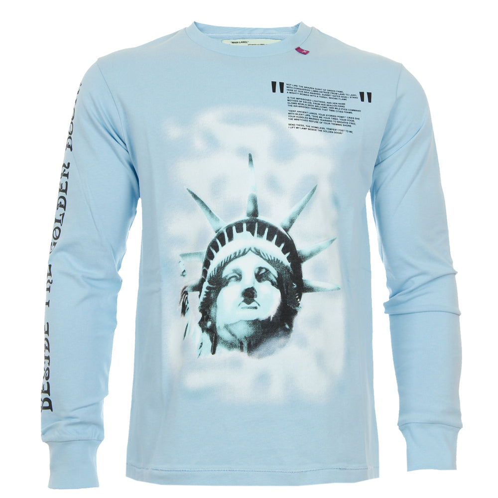 235ce7a1be finest offwhite by virgil abloh longsleeve sweater statue of liberty  hellblau with hellblau. affordable your concept modisches damen langarm ...