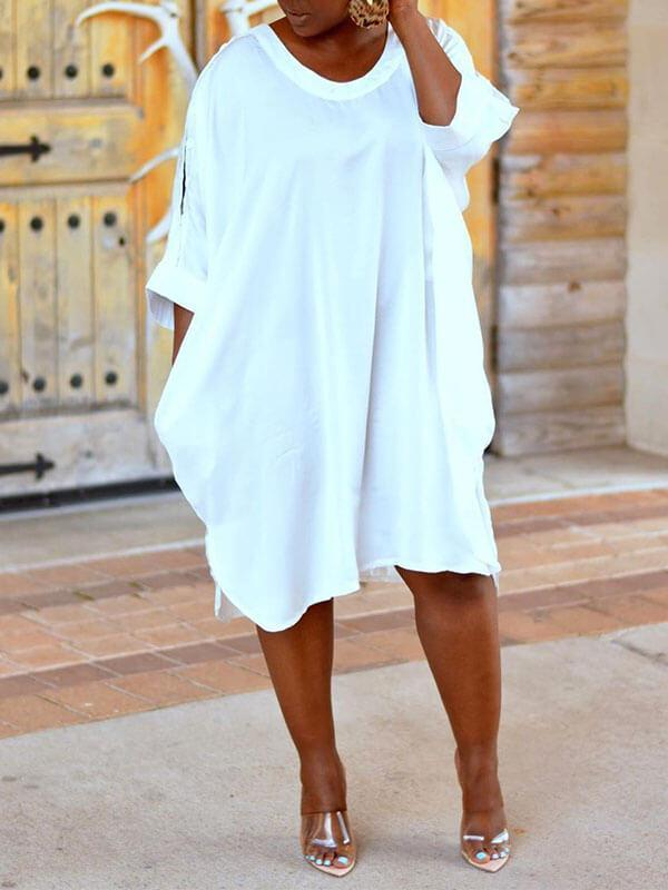 Oversize Cold Shoulder Shirt Dress