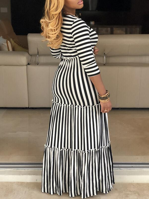 Stripe Ruffle Maxi Dress