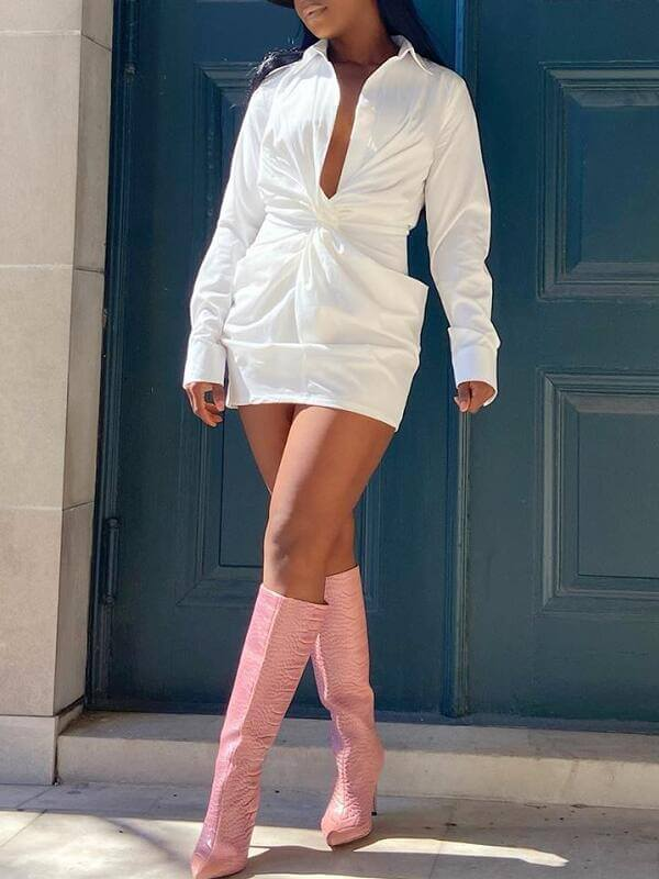 White Twisted Shirt Dress