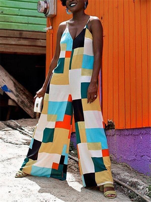 Spaghetti Color-Block Wide Leg Jumpsuit