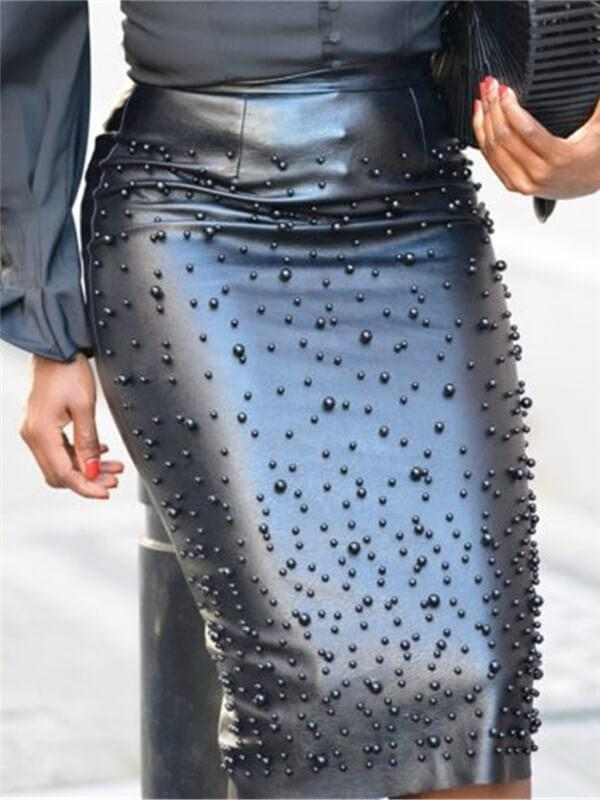 Studded PU Pencil Skirt