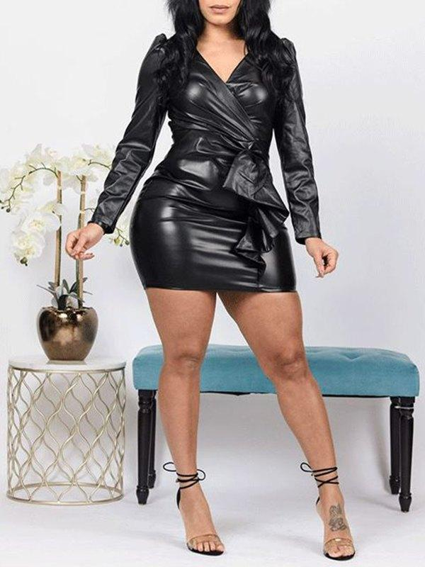 V-Neck Faux-Leather Dress