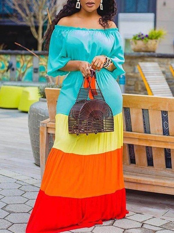 Colorblock Off-Shoulder Maxi Dress
