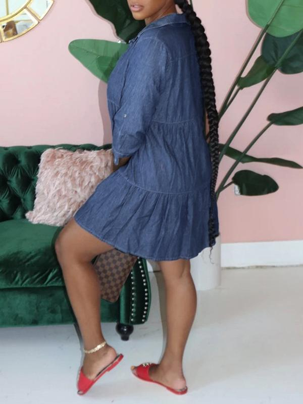 Button-Front Ruffle Denim Dress