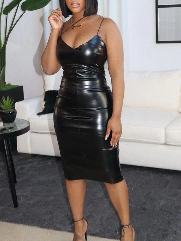 Black Faux-Leather Cami Dress