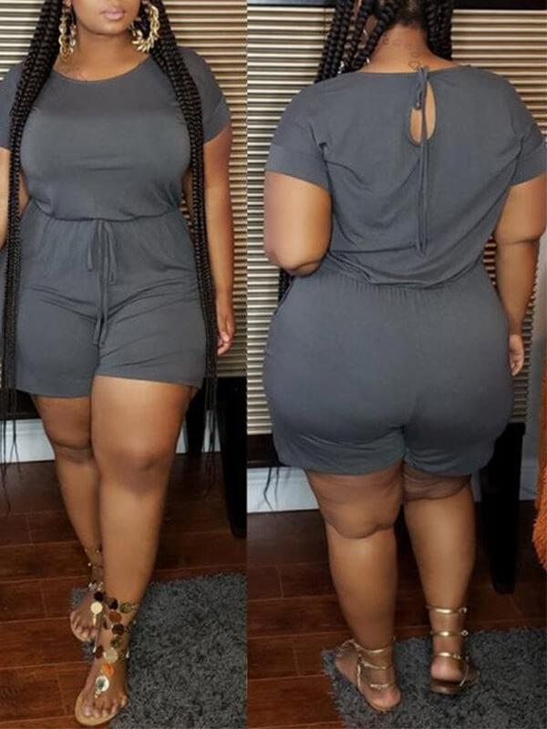 Solid Tied Romper