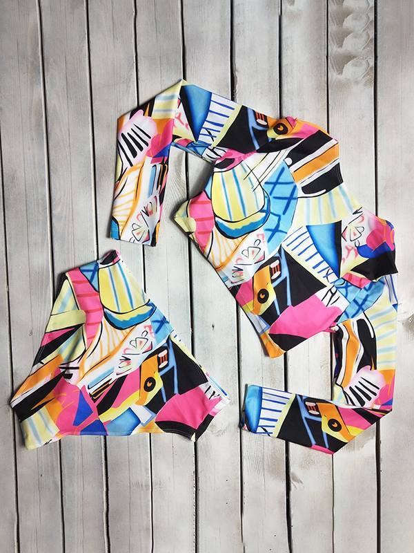 Print Long-Sleeve Bikini