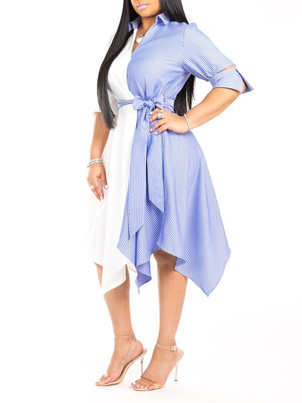 Two-Tone Asymmetric Shirt Dress