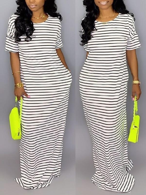 Stripe Short-Sleeve Maxi Dress