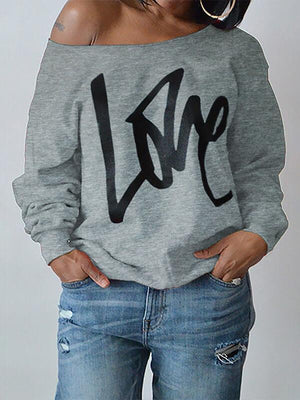 """Love"" Print Boat-Neck Top"