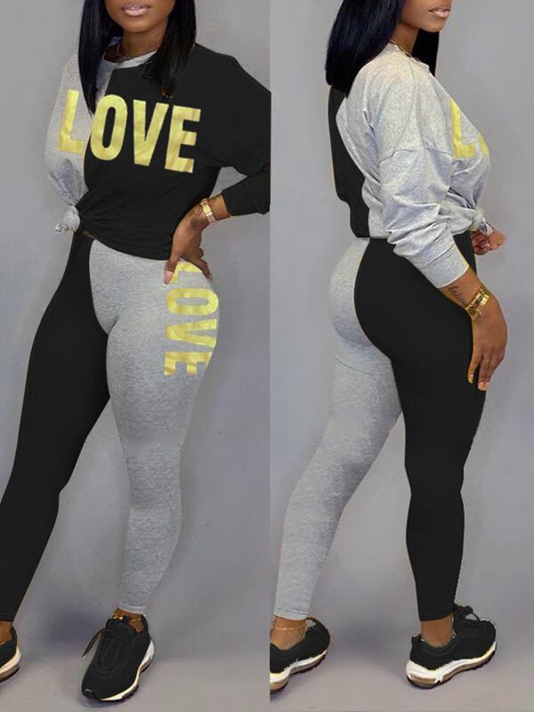 Slogan Two-Tone Sweatshirt & Pants Set--2XL