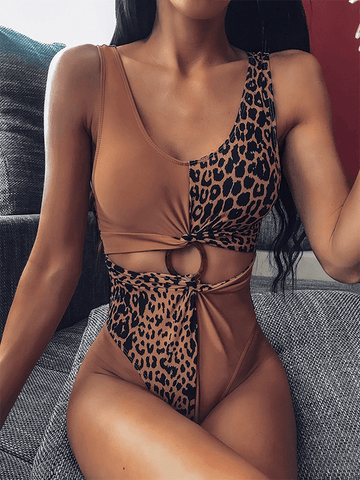 Printed Zip-Front Swimsuit