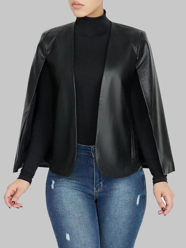 Faux Leather Cape Blazer