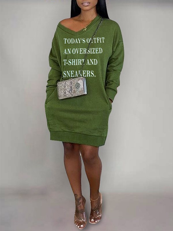 Slogan Sweatshirt Dress