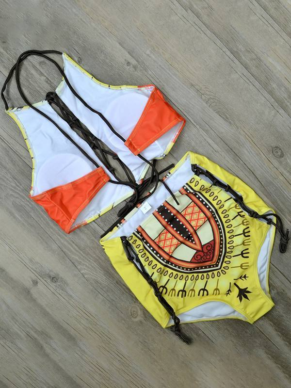 Printed Lace-Up Bikini