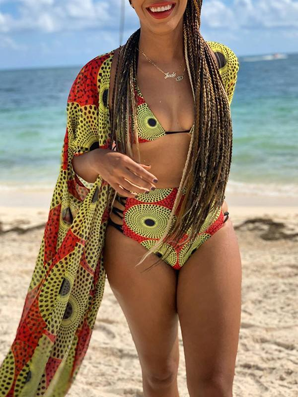 African-Print Bikini With Cover