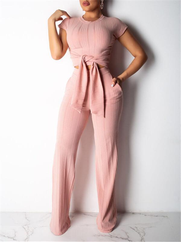Ribbed Tied Top & Pants Set
