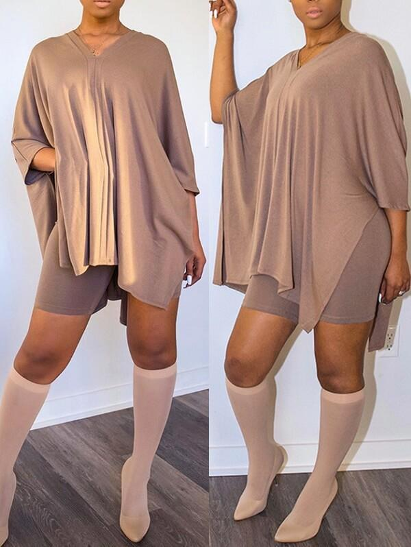V-Neck Batwing Top & Shorts Set