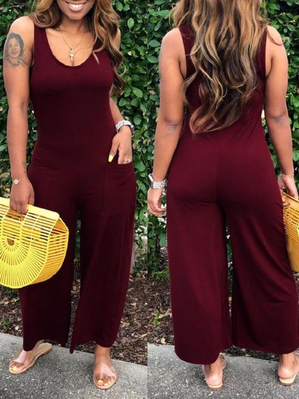 Solid Sleeveless Wide-Leg Jumpsuit