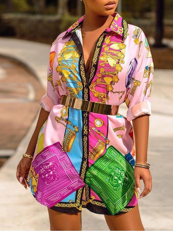 Multicolor-Printed Shirt Dress