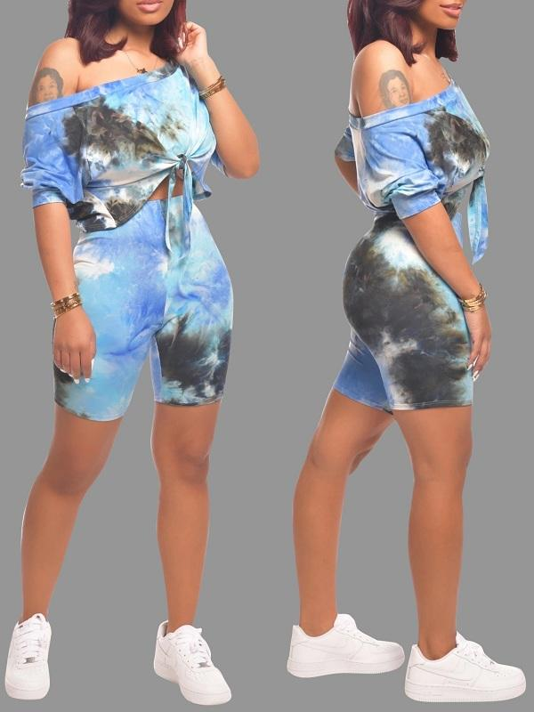 Multilcolor Print Top & Shorts Set