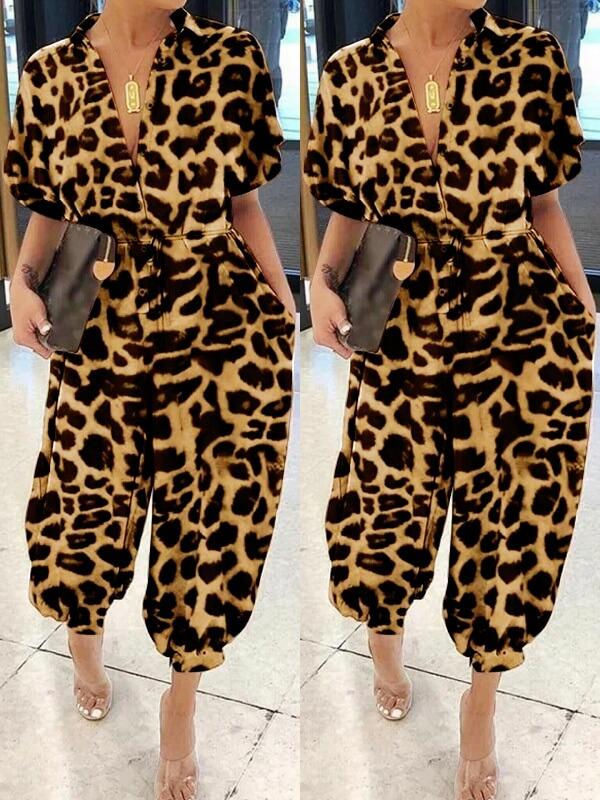 Leopard Button-Front Jumpsuit