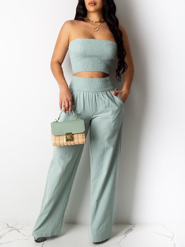 Smocked Tube Top & Pants Set