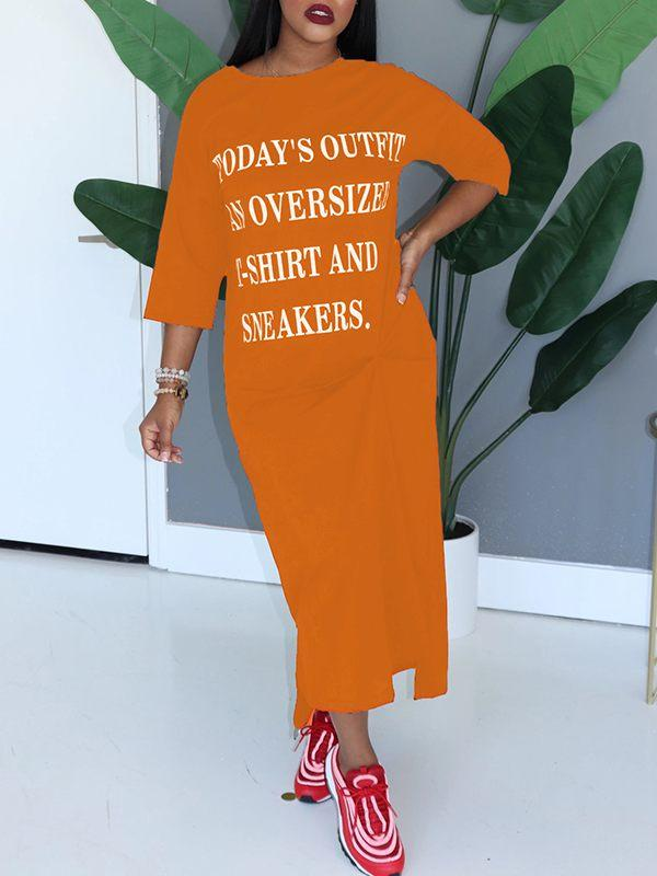 Slogan 3/4-Sleeve Dress