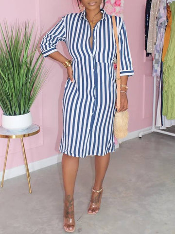 Stripe-Sleeve Maxi Dress