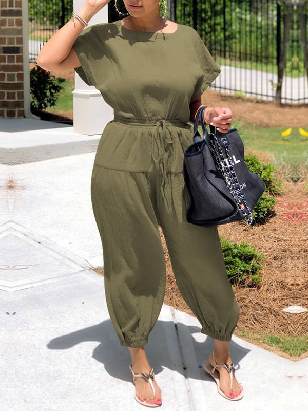 Open-Back Drawstring Jumpsuit