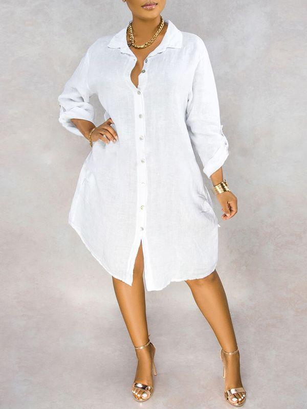 White Button-Down Shirt Dress