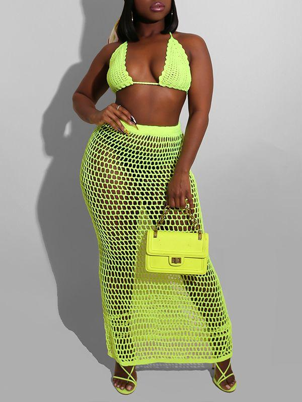 Mesh Bikini Top & Skirt Set