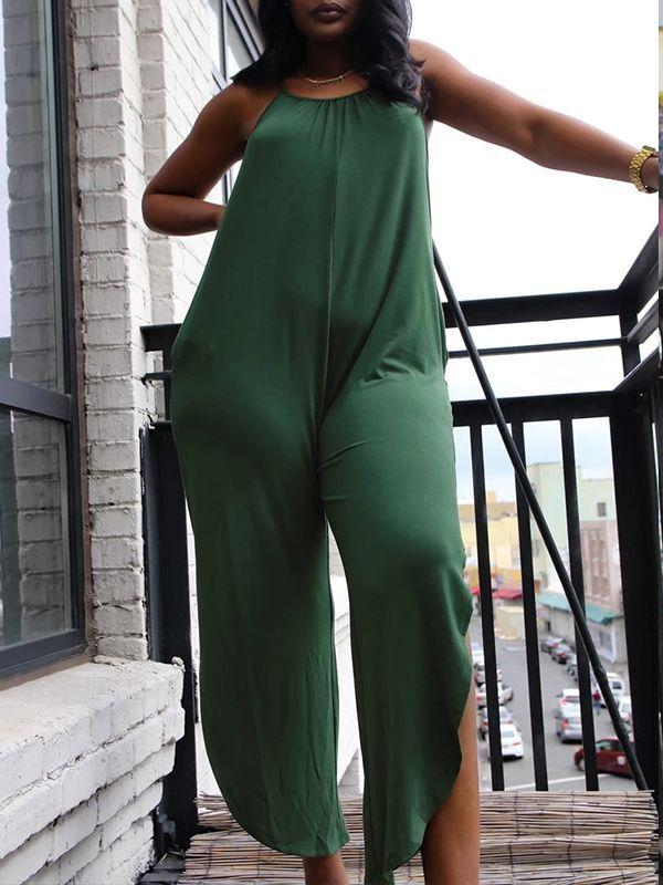 Solid Slit Cami Jumpsuit