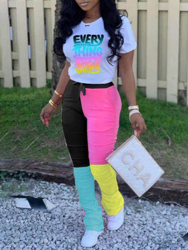 Slogan Tee & Colorblock Pants Set