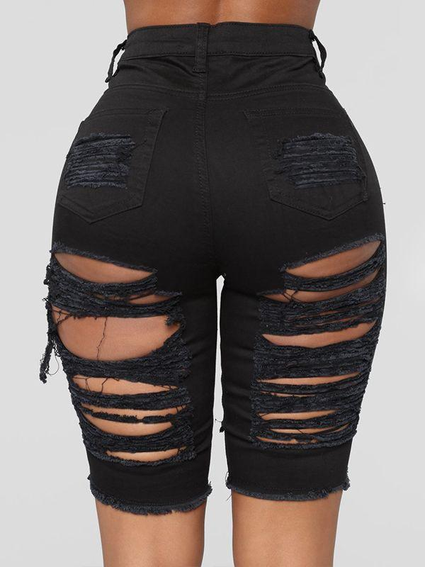 Black Ripped Bermuda Shorts