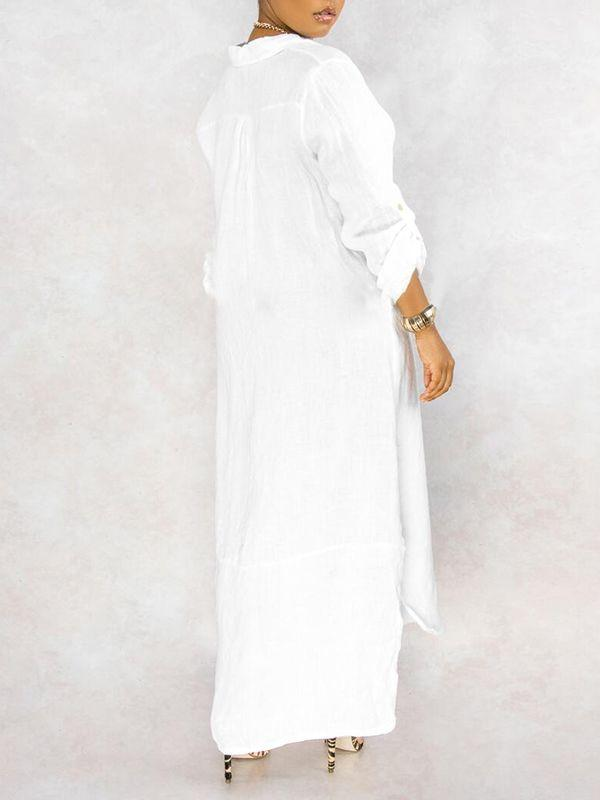 Button-Down Side-Slit Shirt Dress