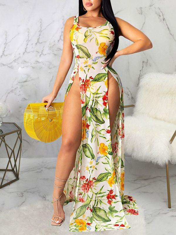 Floral Slit Sheer Cover-up