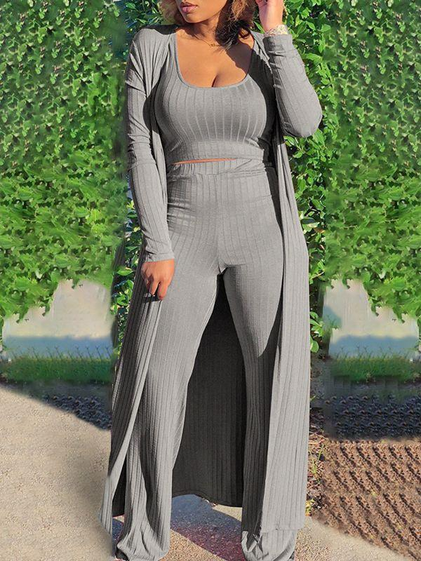 Ribbed 3PC Pants Set