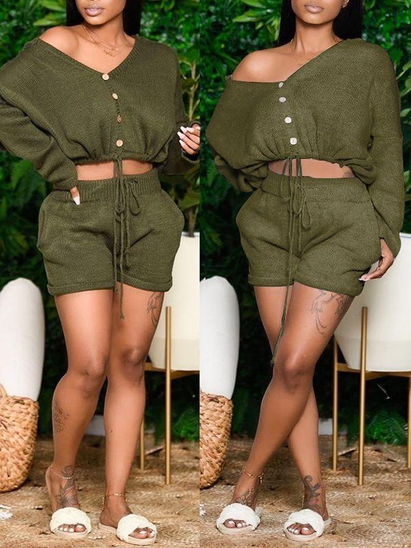 Buttoned Up Shorts Set