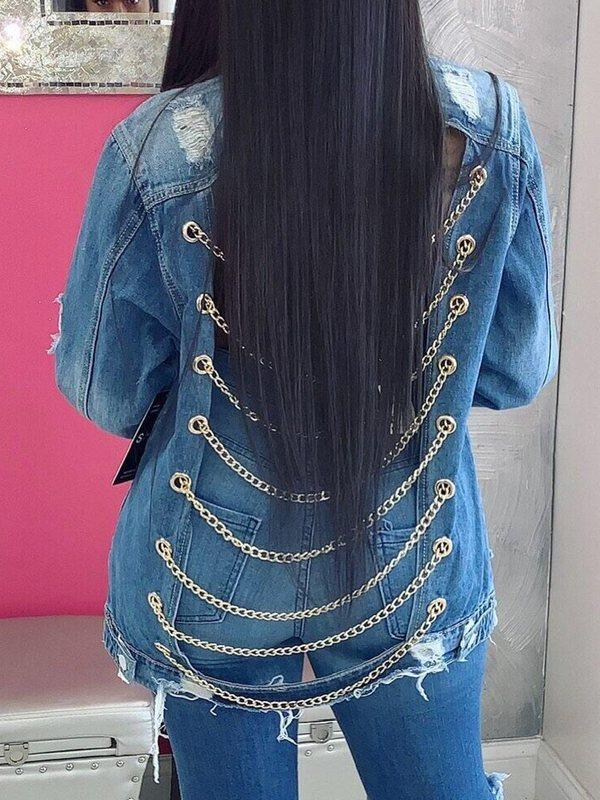 Chain-Back Denim Jacket