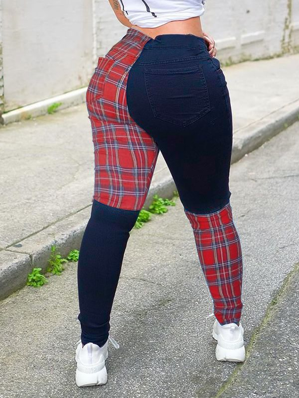Plaid Combo Pants