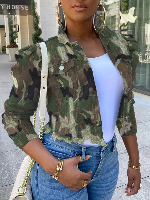Camo Cropped Denim Jacket