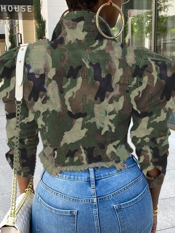 Camo Cropped Denim Jacket——Shipped on 5/1